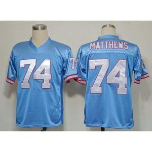 Bruce Matthews Baby Blue Stitched Throwback Jersey